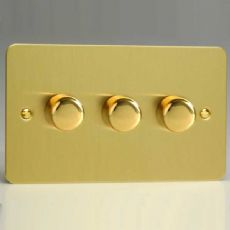Varilight 3 Gang 2 Way 250W Push on/off Dimmer (Twin Plate) Ultra Flat Brushed Brass HFB43